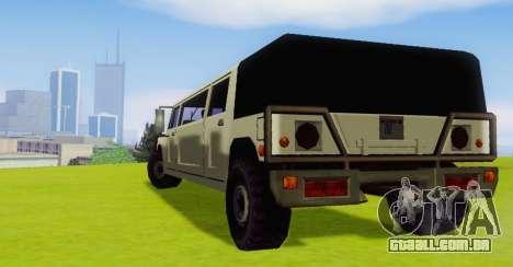 Patriot Limousine para GTA San Andreas vista direita