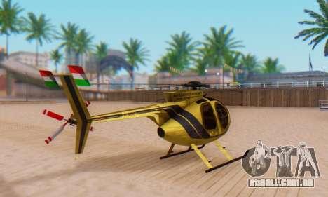 O MD500E helicóptero v2 para GTA San Andreas traseira esquerda vista