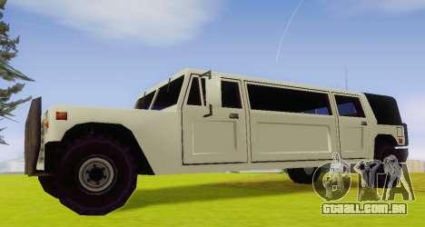 Patriot Limousine para GTA San Andreas esquerda vista