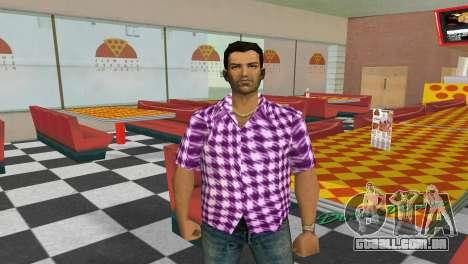 Kockas polo - rozsaszin T-Shirt para GTA Vice City segunda tela
