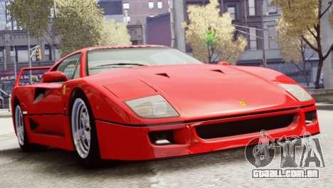 Ferrari F40 1987 para GTA 4 traseira esquerda vista