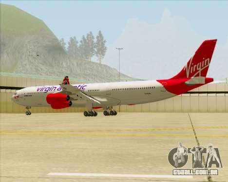 Airbus A340-313 Virgin Atlantic Airways para GTA San Andreas vista inferior