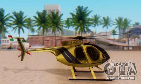 O MD500E helicóptero v2 para GTA San Andreas esquerda vista