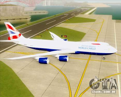 Boeing 747-8 Cargo British Airways World Cargo para GTA San Andreas traseira esquerda vista