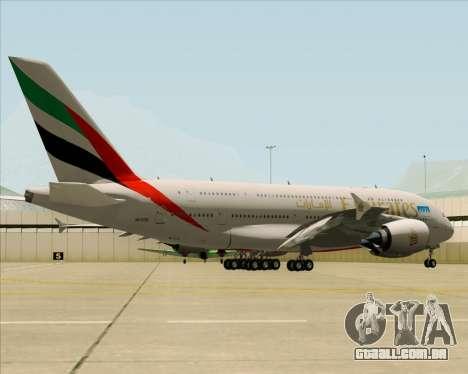 Airbus A380-841 Emirates para GTA San Andreas vista direita
