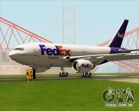 Airbus A310-300 Federal Express para GTA San Andreas traseira esquerda vista