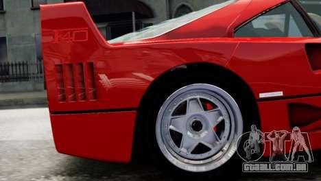 Ferrari F40 1987 para GTA 4 vista direita