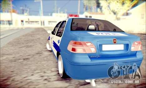 Fiat Albea Police Turkish para GTA San Andreas traseira esquerda vista