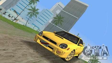 Subaru Impreza WRX 2002 Type 1 para GTA Vice City vista traseira esquerda