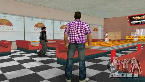Kockas polo - rozsaszin T-Shirt para GTA Vice City terceira tela