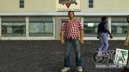 Kockas polo - piros T-Shirt para GTA Vice City