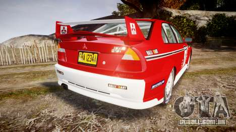 Mitsubishi Lancer Evolution VI 2000 Rally para GTA 4 traseira esquerda vista