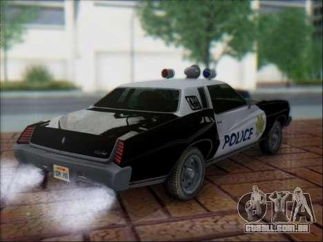 Chevrolet Monte Carlo 1973 Police para GTA San Andreas vista traseira
