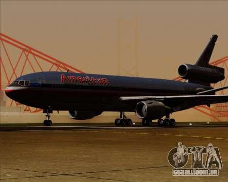 McDonnell Douglas DC-10-30 American Airlines para GTA San Andreas traseira esquerda vista