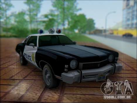Chevrolet Monte Carlo 1973 Police para vista lateral GTA San Andreas