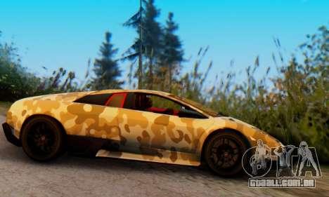 Lamborghini Murcielago Camo SV para GTA San Andreas traseira esquerda vista