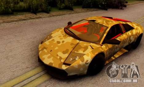 Lamborghini Murcielago Camo SV para GTA San Andreas esquerda vista