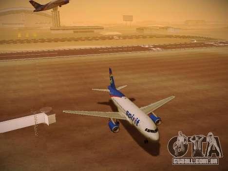 Airbus A319-132 Spirit Airlines para GTA San Andreas vista inferior