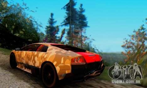 Lamborghini Murcielago Camo SV para GTA San Andreas vista direita