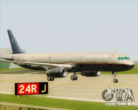 Airbus A321-200 United Airlines para GTA San Andreas vista superior