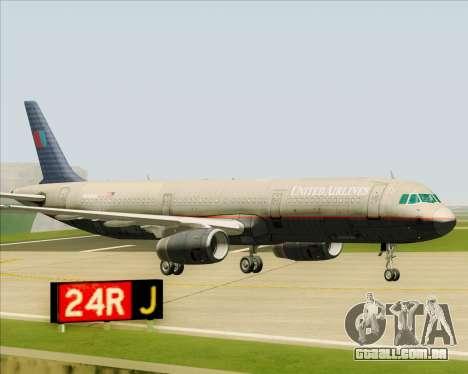Airbus A321-200 United Airlines para GTA San Andreas vista superior