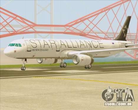 Airbus A321-200 Air New Zealand (Star Alliance) para GTA San Andreas vista direita