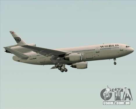 McDonnell Douglas DC-10-30 World Airways para vista lateral GTA San Andreas
