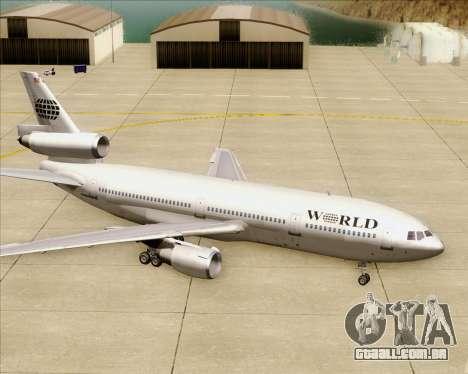 McDonnell Douglas DC-10-30 World Airways para as rodas de GTA San Andreas