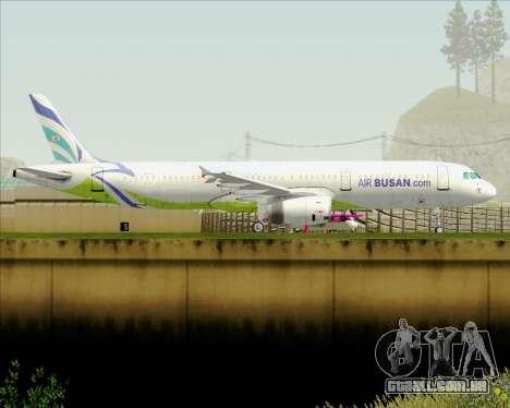 Airbus A321-200 Air Busan para GTA San Andreas traseira esquerda vista