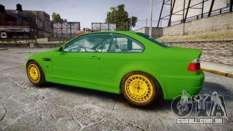 BMW M3 E46 2001 Tuned Wheel Gold para GTA 4 esquerda vista