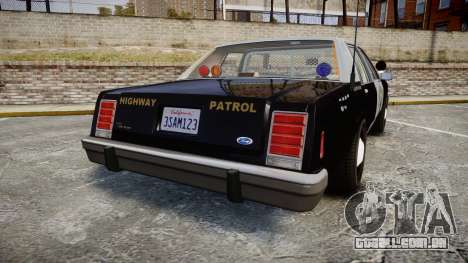 Ford LTD Crown Victoria 1987 Police CHP2 [ELS] para GTA 4 traseira esquerda vista