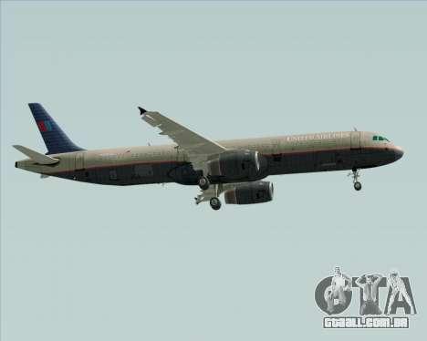 Airbus A321-200 United Airlines para GTA San Andreas traseira esquerda vista