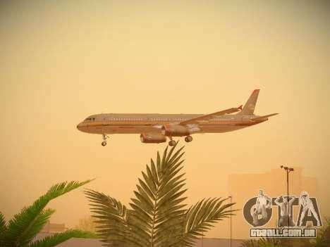 Airbus A321-232 Royal Jordanian Airlines para GTA San Andreas vista superior