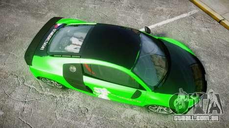 Audi R8 GT Coupe 2011 Yoshino para GTA 4 vista direita