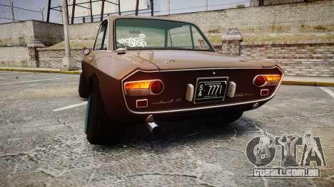 Lancia Fulvia HF (Camber) para GTA 4 traseira esquerda vista