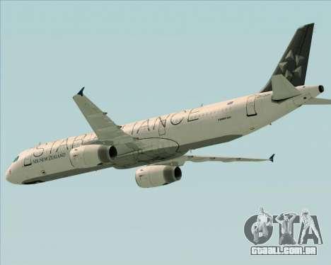 Airbus A321-200 Air New Zealand (Star Alliance) para GTA San Andreas vista superior