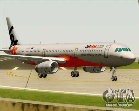Airbus A321-200 Jetstar Airways para GTA San Andreas esquerda vista