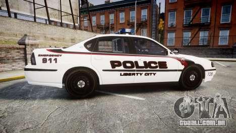 Chevrolet Impala 2003 Liberty City Police [ELS] para GTA 4 esquerda vista