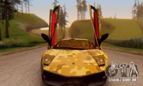 Lamborghini Murcielago Camo SV para GTA San Andreas vista traseira