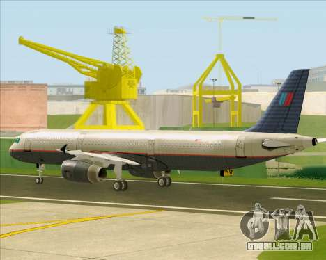 Airbus A321-200 United Airlines para GTA San Andreas vista traseira
