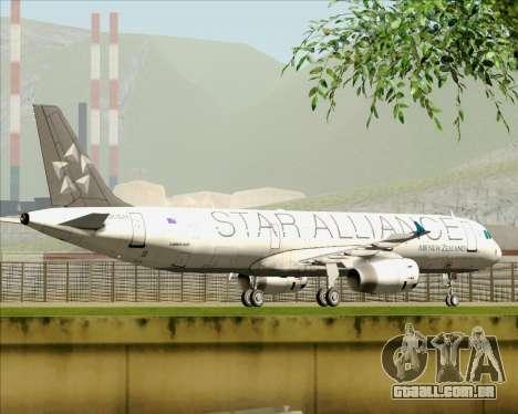 Airbus A321-200 Air New Zealand (Star Alliance) para GTA San Andreas vista inferior