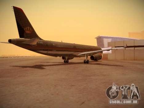 Airbus A321-232 Royal Jordanian Airlines para GTA San Andreas vista direita