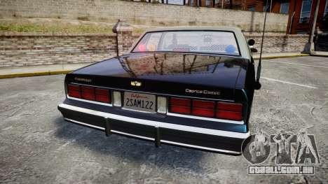Chevrolet Caprice 1986 Brougham Police [ELS] para GTA 4 traseira esquerda vista