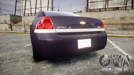 Chevrolet Impala 2010 Undercover [ELS] para GTA 4 traseira esquerda vista