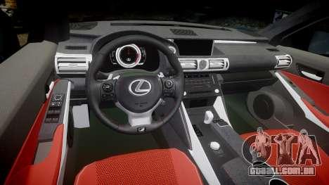 Lexus IS 350 F-Sport 2014 Rims2 para GTA 4 vista interior