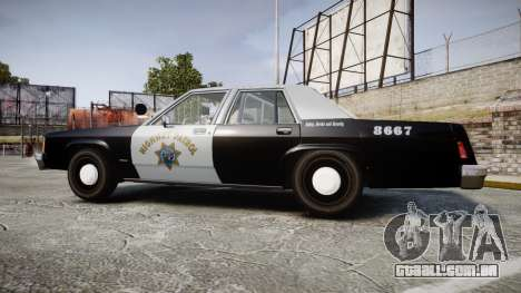 Ford LTD Crown Victoria 1987 Police CHP2 [ELS] para GTA 4 esquerda vista