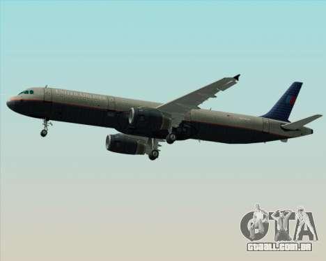 Airbus A321-200 United Airlines para vista lateral GTA San Andreas