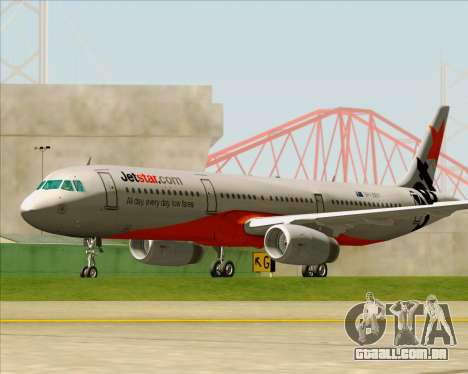 Airbus A321-200 Jetstar Airways para GTA San Andreas vista superior