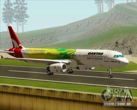 Airbus A321-200 Qantas (Socceroos Livery) para GTA San Andreas esquerda vista