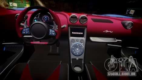 Koenigsegg Agera R 2013 [EPM] v1.5 Low Quality para GTA 4 vista de volta